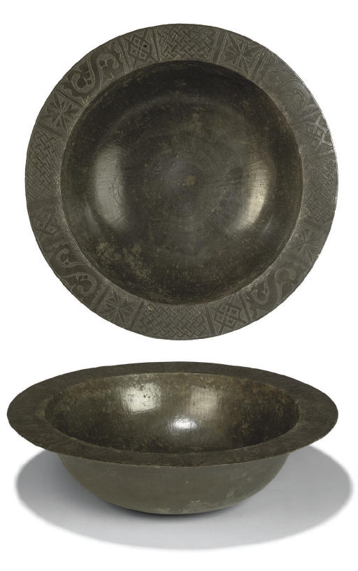 A RARE ENGRAVED PEWTER BOWL, P