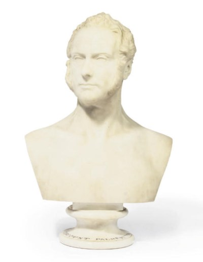 A SCULPTED WHITE MARBLE BUST O