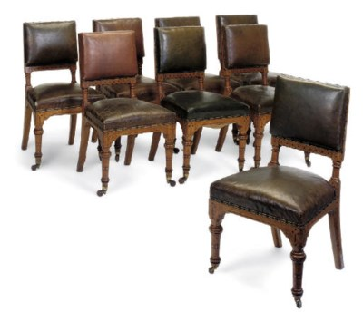 A SET OF EIGHT VICTORIAN OAK A