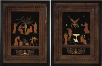 A PAIR OF GEORGE III OCHRE, BLACK AND WHITE-PAINTED PICTURES