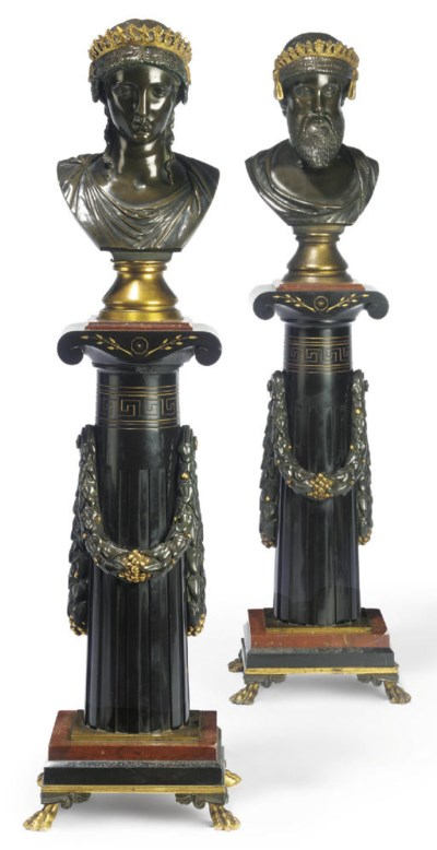 A PAIR OF FRENCH BRONZE MARBLE