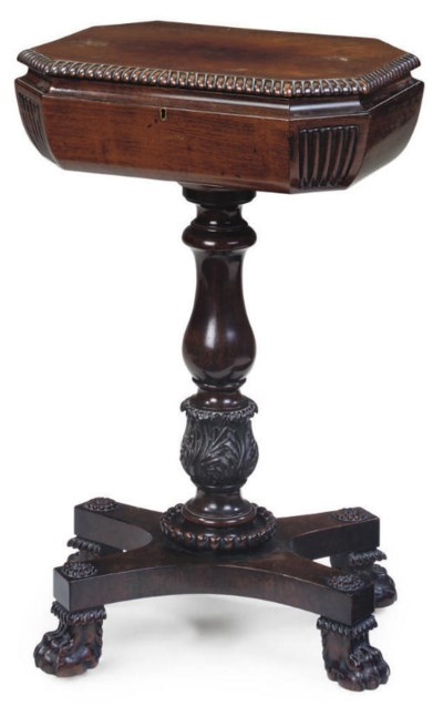 A WILLIAM IV ROSEWOOD TEAPOY