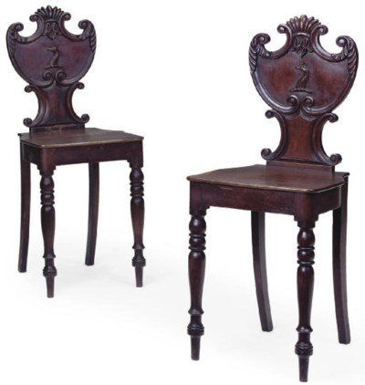A PAIR OF LATE REGENCY STAINED