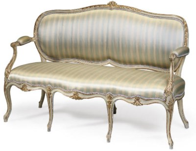 A GEORGE III PALE GREY PAINTED