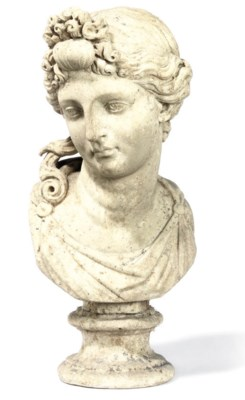 A MARBLE BUST OF A CLASSICAL L