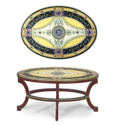 A POLYCHROME DECORATED OVAL TA