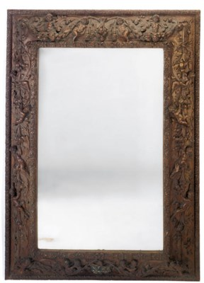 A LARGE ENGLISH WALNUT MIRROR