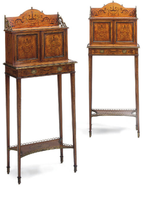 A PAIR OF LATE VICTORIAN GILT-METAL MOUNTED SATINWOOD AND MARQUETRY SIDE CABINETS