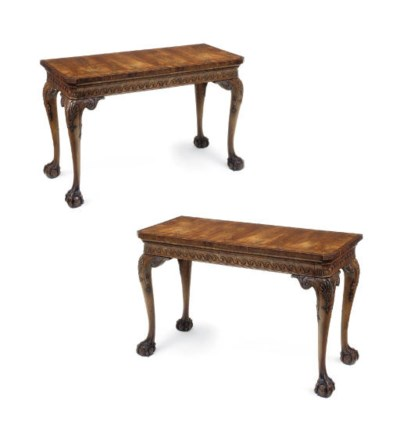 A PAIR OF MAHOGANY, WALNUT AND