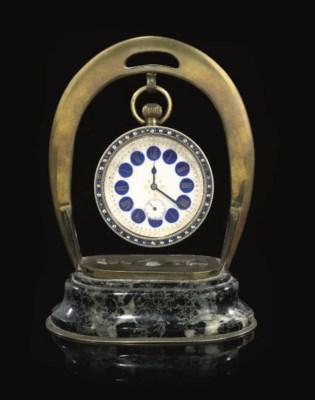 A FRENCH GLASS BALL DESK CLOCK