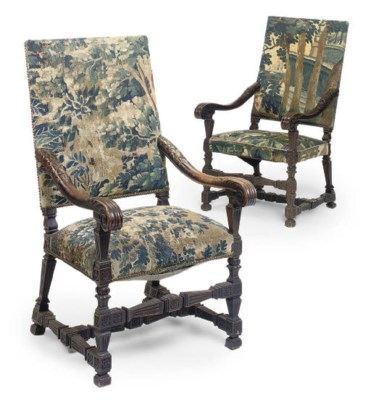 A PAIR OF WALNUT AND VERDURE T