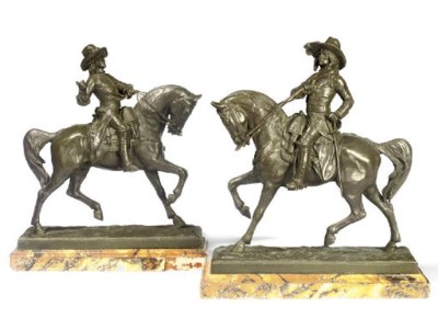 A PAIR OF FRENCH BRONZE EQUEST