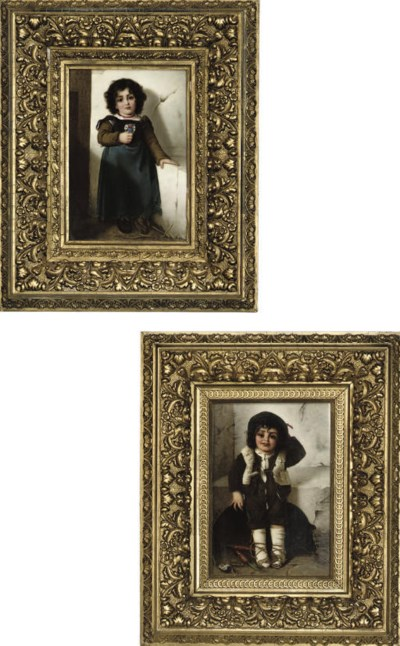 A PAIR OF VIENNESE PAINTED POR