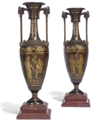 A PAIR OF FRENCH NEO-GREC PARC