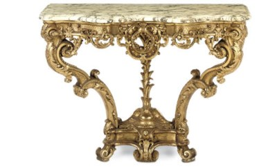 A FRENCH CARVED GILTWOOD CONSO