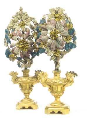 A PAIR OF SICILIAN BEADWORK AN