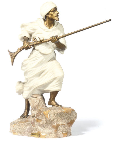 A GILT-BRONZE AND MARBLE FIGUR