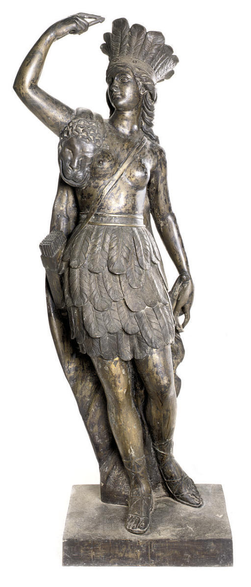 A BRONZE FEMALE WARRIOR PERSON