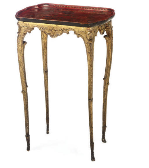 A FRENCH GILTWOOD AND JAPANNED