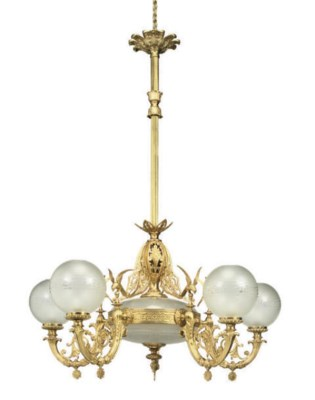 A GILT-BRASS AND FROSTED GLASS