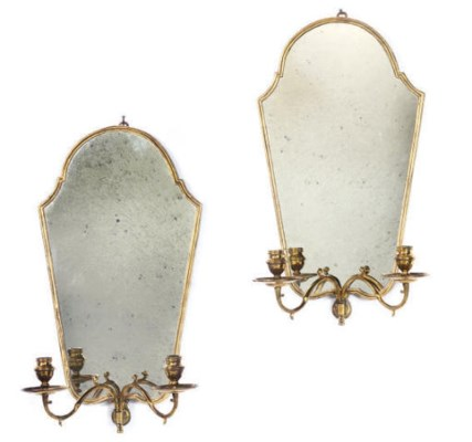 A PAIR OF GILTWOOD AND BRASS M