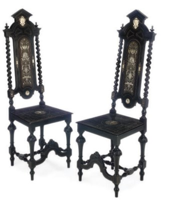 A PAIR OF MILANESE EBONISED AN