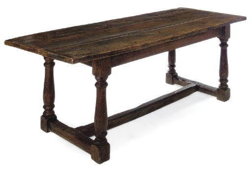 AN OAK AND ELM REFECTORY TABLE