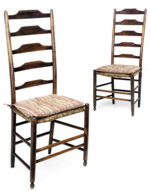 A PAIR OF ENGLISH ASH LADDERBA