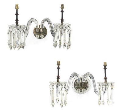 A PAIR OF GLASS AND SILVERED-B
