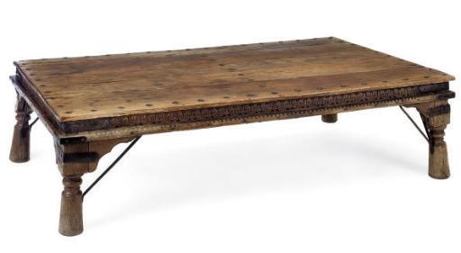 AN INDIAN HARDWOOD LOW TABLE
