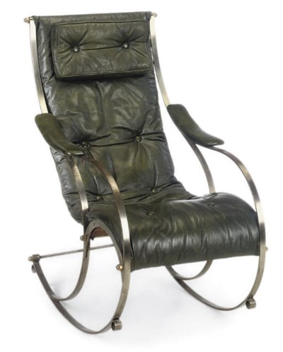 A STEEL ROCKING CHAIR