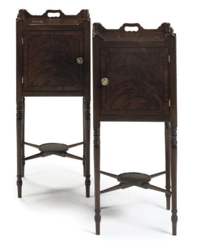 A PAIR OF BEDSIDE CUPBOARDS