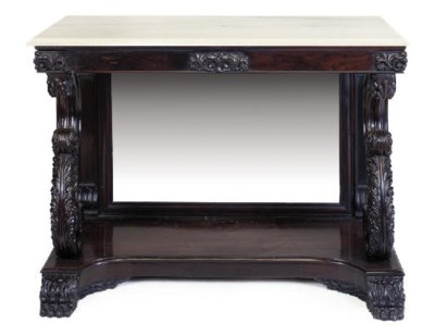 A VICTORIAN ROSEWOOD CONSOLE T