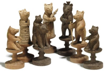 A SWISS CARVED SOFTWOOD 'BEARS