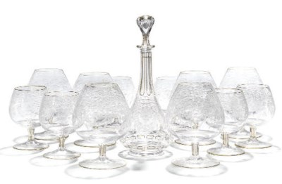 AN INDIAN MARKET ENGRAVED GLAS