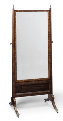 A ROSEWOOD CHEVAL MIRROR