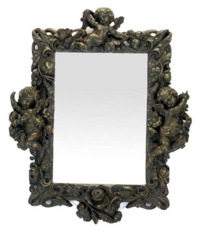 A CARVED AND PAINTED MIRROR