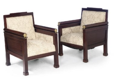 A PAIR OF MAHOGANY BERGERES