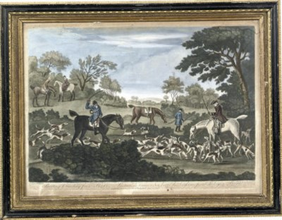 FOUR GEORGE III HAND COLOURED