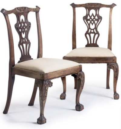A PAIR OF MAHOGANY DINING CHAI