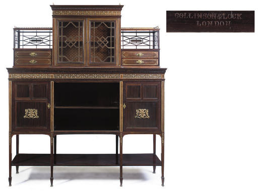 A LATE VICTORIAN ROSEWOOD AND IVORY INLAID SIDE CABINET