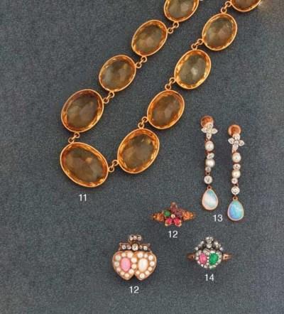 A pair of Edwardian opal, diam