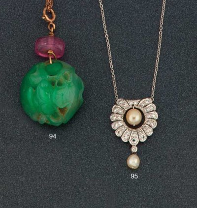 A jade pendant necklace and a