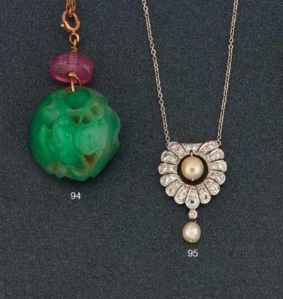 A diamond and pearl pendant ne