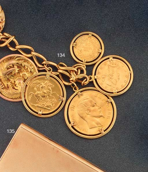 A gold coin and medallion char