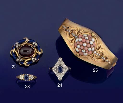 A late 19th century sapphire and diamond three stone ring