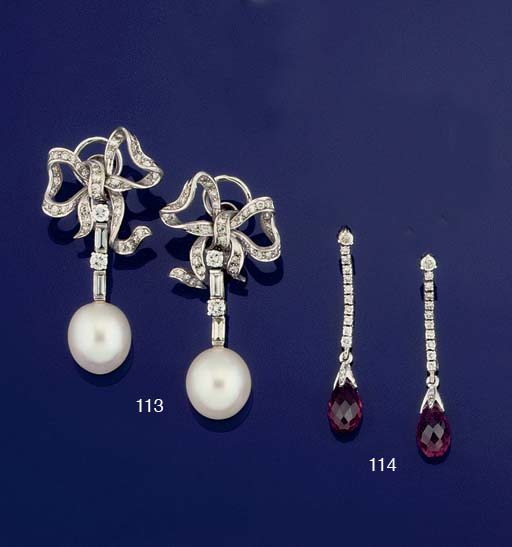 A pair of diamond and cultured pearl earpendants