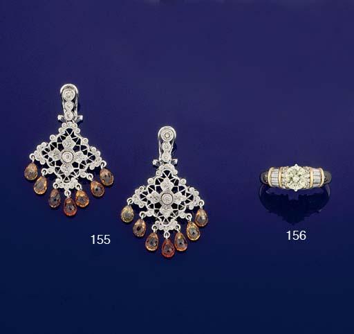 A PAIR OF DIAMOND AND CITRINE EARPENDANTS