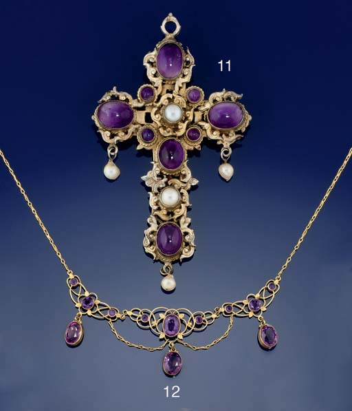 An Edwardian gold, amethyst ne