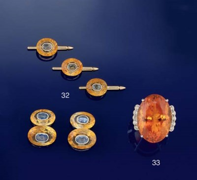 A CITRINE AND SAPPHIRE DRESS S